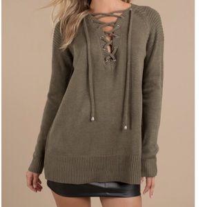 TOBI Lace Up Sweater